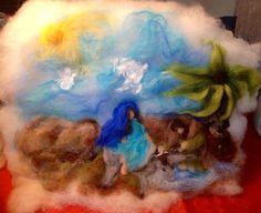 Dipinto su vello di lana cardata Maria e di CreazioniMonica