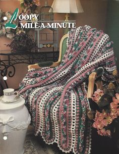 Crochet Afghan Pattern Loopy Mile-A-Minute by KnitKnacksCreations