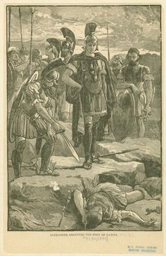Image Title:  Alexander discovers the body of Darius.  Published Date: 1899  Specific Material Type: photomechanical_prints  Item Physical Description: 1 print : b ; 22.5 x 14.5 cm.  Notes: Reproduction of an original wood engraving. Abrasion on image.  Original Source: From Ridpath's universal history : an account of the origin, primitive condition, and race development of the greater division of mankind. (New York : Merrill & Baker, c1899) Ridpath, John Clark (1840-1900), Author.