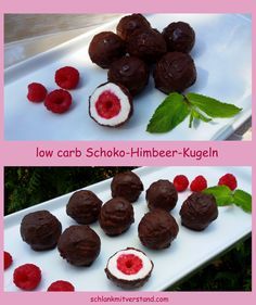 Schoko-Himbeer-Kugeln low carb ganz einfach selbstgemacht… Chocolate-raspberry-balls low carb made easy homemade … Bon Dessert, Paleo Dessert, Healthy Dessert Recipes, Dessert Food, Low Carb Desserts, Low Carb Recipes, Law Carb, Strawberry Dessert Recipes, Low Carb Chocolate