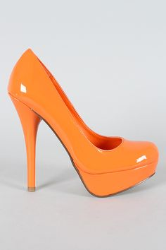 2088d060a56a Delicious Jones-H Patent Round Toe Pump. Orange High HeelsOrange ...