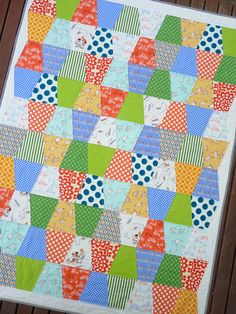 Adorable quilt using Sarah Jane's Children at Play fabric (perfect use of the FQ bundles)