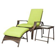 Belmont 3-Piece Brown Wicker Patio Wicker Lounge Set - Green
