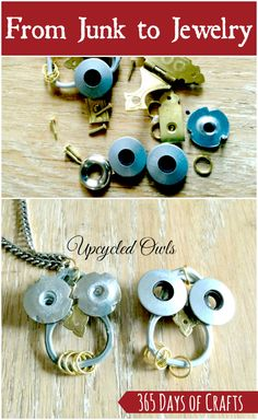 Upcycled jewelry from junk - hardware jewelry ideas Turn junk into jewelry and . Upcycled jewelry from junk – hardware jewelry ideas Turn junk into jewelry and make an upcycled Diy Jewelry Holder, Diy Jewelry Making, Mothers Day Crafts, Crafts For Girls, Upcycled Crafts, Repurposed, Hardware Jewelry, Hard Ware, Diy Schmuck
