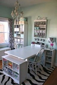 realllly love this craft room. so shabby chic with the pop of zebra...my kinda style!