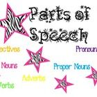 These posters will be perfect for any classroom!  They are embellished with stars, bright colors, and zebra print.  Posters included are:  nouns, v...