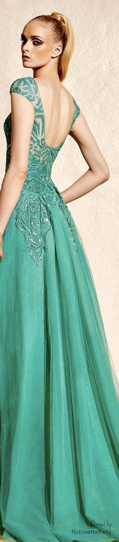 Aqua-marine, sleeveless gown with matching sequin detailing! ~ Zuhair Murad | Resort 2015