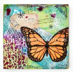Butterfly art  ORIGINAL collage artwork  by SunshineOnCanvas, $58.00