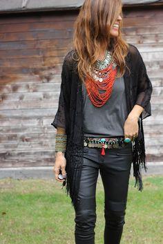 Fall trends | Sheer cardigan over grey top, black leather pants, boho belt, statement necklace, bracelets