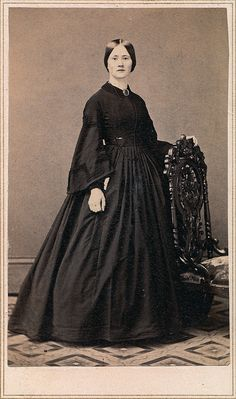 Circa 1862 Young Woman in Mourning Wearing a Hair Memorial Brooch, Albumen Carte de Visite, via Flickr.
