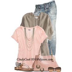 """Sometimes all you need is jeans and tee"" by cindycook10 on Polyvore"