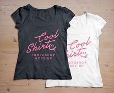 WomanFront Back T-Shirt MockUp psd@tshirtzoon