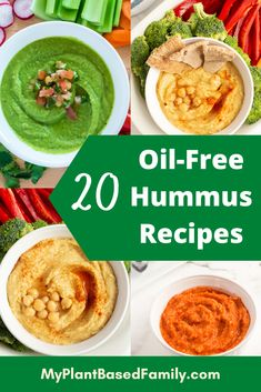 Check out this extensive list of oil-free hummus recipes! You'll find a hummus to fit your cravings. Spicy Hummus, Sweet Potato Hummus, Beet Hummus, Vegan Hummus, Hummus Recipe, Greek Recipes, Veggie Recipes, Whole Food Recipes, Family Recipes