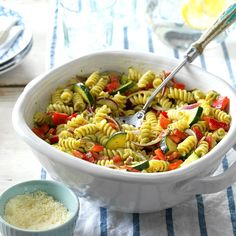 Garden Pesto Pasta Salad Recipe -My family and I live on a homestead in the Missouri Ozarks and produce much of our own food. In the summer, when the garden is bursting with fresh vegetables and it's too hot to cook, I like to use the seasonal veggies for pasta salads and other cool meals. —Sarah Mathews, Ava, Missouri