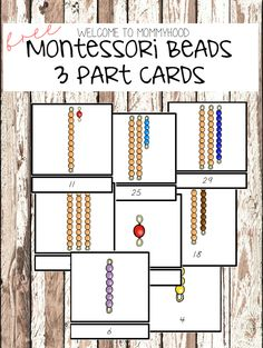 Free Montessori Beads 3-=Part Cards 0-30