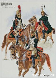 Napoleon's Dragoons of the Imperial Guard 1_Grande Tenue 1806-08 2_Grande tenue 1808-14 3_Sous-officier 1808-12