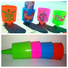 Monogrammed Spiked Beach Cup Holder Fits by MeowMeowHouseDesigns, $12.00
