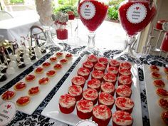 Red Black And White Themed Bridal Shower Dessert Bar