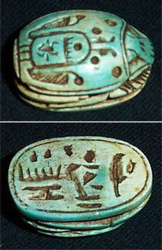 A large Egyptian scarab amulet carved from steatite - circa 550 BC. From the private collection of Randy Benzie | Does anyone knows the translation to the inscriptions?