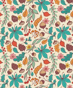 Buy Autumn Seamless Pattern by Artness on GraphicRiver. Vector autumn seamless pattern with leaves and flowers. Zip file contains fully editable vector file. Patterns In Nature, Tree Patterns, Flower Patterns, Print Patterns, Watch Wallpaper, Fall Wallpaper, Autumn Illustration, Pattern Illustration, Leaf Texture