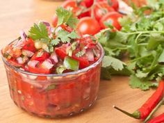[ Recipe: Mexican Salsa Recipe ] Made with: tomatoes, onion, lemon juice, salt, cilantro (fresh coriander), chili peppers (recommended: green serrano). ~ from Salsa Recipes