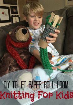 DIY+Toilet+Paper+Roll+Loom:+Knitting+For+Kids+via+@amomstake