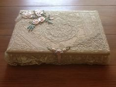 Normandy lace vanity box with French silk flowers