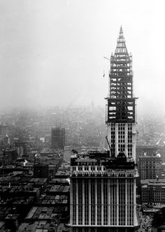 The Woolworth Building under construction in 1912, New York