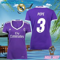 Maillot De Football FC Real Madrid Femme (PEPE 3) Exterieur 2016-2017 Moins Cher