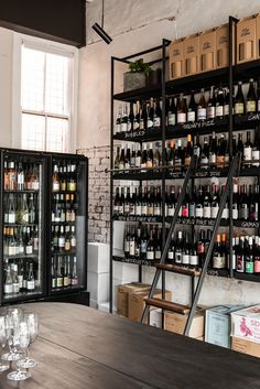Wine Shop Interior, Bubble World, Bakery Shop Design, Listed Building, Liquor Store, Building Facade, Wine Rack, Liquor Cabinet, Architects
