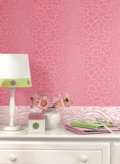 Animal prints for girls at http://lelandswallpaper.com  Width: 20.5 in  Repeat: 20.5 in  Length: 15 ft (SINGLE ROLL)  pre-pasted, washable, strippable  pink tone on tone giraffe skin wallpaper with pearlized inks lends a soft shimmer to the wall. $38.99 per single roll order here http://lelandswallpaper.com