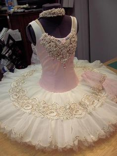 pretty pink and ivory beaded ballet tutu