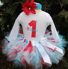 Winter ONEderland-- 1st Birthday  Petti Tutu Set--Party Outfit-- Great for Party or Photo Prop. $60.00, via Etsy.
