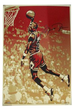 Michael Jordan Shepard Fairey Dual Signed Bulls Artwork