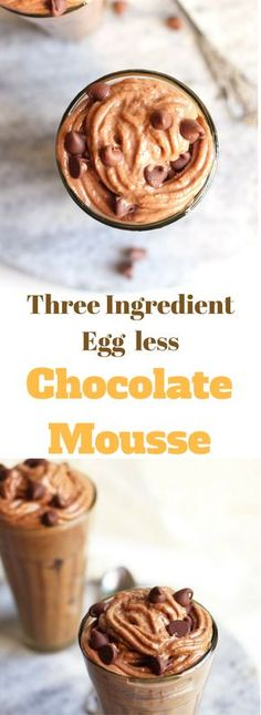A delicious,quick and easy to make French dessert without egg and gelatin. This three ingredient egg less chocolate mousse is smooth,fluffy,light and melt in mouth.Perfect for any occasion