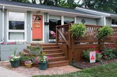 front patio makeover, curb appeal, decks, flowers, gardening, outdoor living