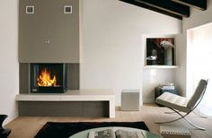 Marvelous Corner Electric Fireplace Design In Modern Living Room With White Leather Chair Using Chrome Polished Metal Leg On Wooden Flooring, Contemporary Fireplace Design Ideas For Modest Homes: Furniture