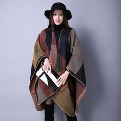 Faux Cashmere Shawls Scarf Wrap For Fall/Winter Wild Plaid Ladies Travel National Wind Occur The Thick Cloak Womens Scarves MT99