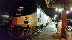 Amtrak locomotive #166 from Portland, Oregon's Empire Builder is in Spokane, ready to uncouple and join up with the Seattle Empire Builder.