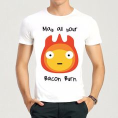 cf70e8b80 Howl s Moving Castle Calcifer T-Shirt Short Sleeve Anime Fire Calcifer T  Shirt Top Tees