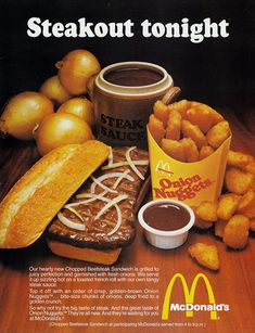 1979 McDonald's Chopped Beefsteak Sandwich and Onion Nuggets Advertisement. I loved this sandwich, I wish they would bring it back! Vintage Menu, Vintage Ads, Vintage Prints, Vintage Food, Retro Food, Vintage Advertisements, 60s Food, Vintage Restaurant, Fast Food Restaurant