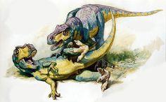 """Filhotes brincando.  Livro """"Dinotopia, O Mundo Subterrâneo"""" Tags: dinossauros, james gurney, pinturas, fantasia"""