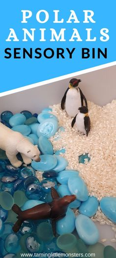 This polar animals sensory bin is perfect for winter themed curriculums. Toddlers and preschools will develop their vocabulary, fine motor skills and more with this easy play activity for kids.    #winter #sensory #toddler #preschool