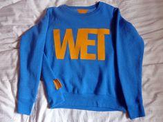 WET Sweatshirt - Blue - Bright Yellow Fabric. $40.00, via Etsy.