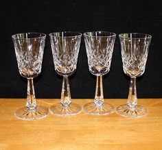 Beautiful, Vintage, Set of 4, Clifden Crystal Wine Glasses, by Galway, Faceted Stem by cocoandcoffeevintage