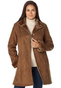 Plus Size Faux shearling swing coat...not too plain or too dressy....Just #right! #WWFallContest