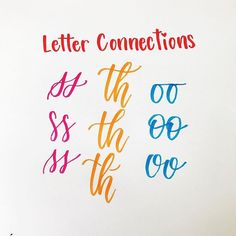 How do you handle tricky letter connections? Here are three common tricky connections AND three ways to try them out. These are the kinds of things you'll be seeing in my new Brush Calligraphy Guide- pt. 2 coming soon. Best Brush Pens, Best Pens, Doodle Lettering, Brush Lettering, Lettering Ideas, Calligraphy Handwriting, Modern Calligraphy, Instagram Handle, Third Way