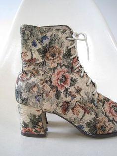 Vintage EDWARDIAN TAPESTRY Boots