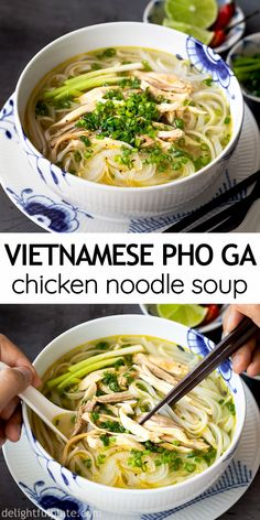 Pho Ga (Vietnamese Chicken Noodle Soup) is one of the classic dishes of Northern Vietnamese cuisine. It is light yet flavorful, simple yet sophisticated. You can cook it on the stovetop or in a pressure cooker. Vietnamese Soup, Vietnamese Cuisine, Easy Chicken Pho Recipe, Vietnamese Chicken Noodle Soup Recipe, Pho Ga Recipe, Best Pho Recipe, Pho Noodle Soup, Chinese Chicken Noodle Soup, Asian Noodle Soups