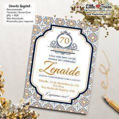 $35.00 Convite Aniversário Azulejo Português para imprimir